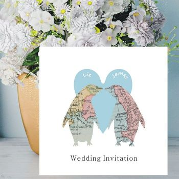 Penguins In Love Map Personalised Wedding Invitation - Name of Bride and Groom on Front of Invite - FREE Framed Keepsake Print